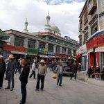 Moschee im Hintergrund